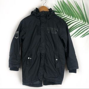 H&M Boys Black Parka Jacket Coat Size 9/10Y